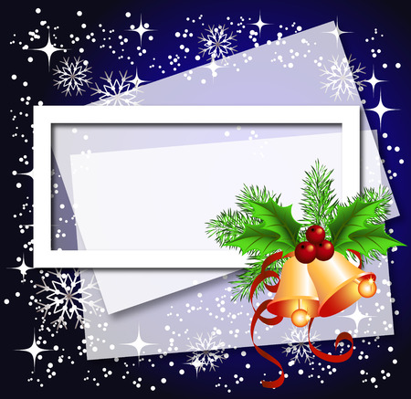 bell curve: Christmas background with frame, bells for photos or text box