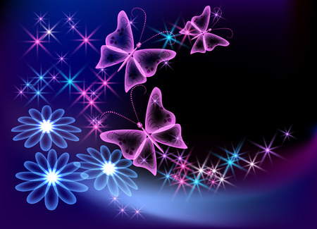 Glowing transparent flowers, stars and butterfly Stock Vector - 8348786
