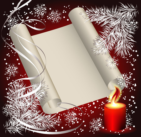burning paper: Christmas background with candles, parchment for photos or text Illustration