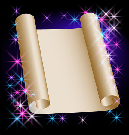 Glowing background with stars fnd parchment Vector