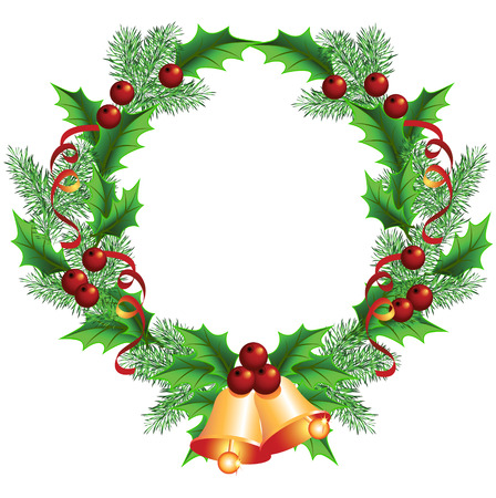 Christmas decorative wreath of fir boughs and holly with bells
