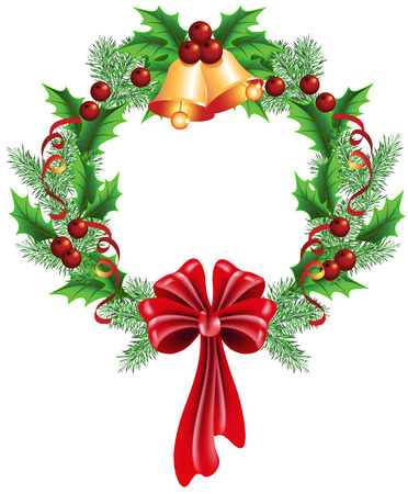 boughs: Christmas decorative wreath of fir boughs and holly with bells