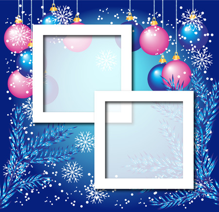 Christmas background with photo frame Vector