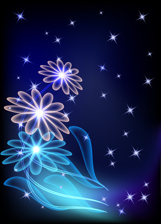 Magic transparent flowers and stars Stock Vector - 8392863