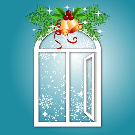Christmas window with bells Stock Vector - 8392861