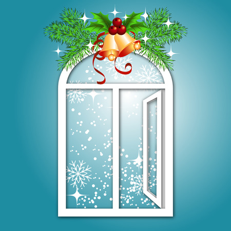 Christmas window with bells Vector