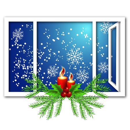 ration: Christmas window with candles and snow Illustration