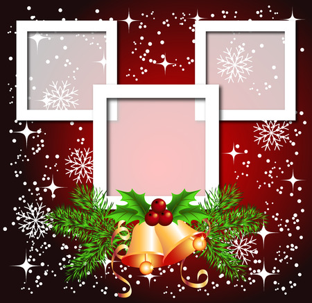 christmas photo frame: Christmas background with frame, bells for photos or text box
