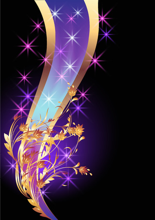 Background with golden ornament and elegant ribbon Vector