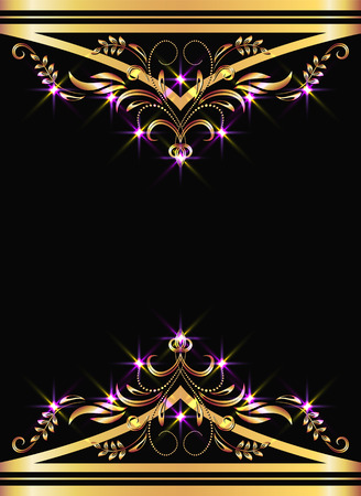 Background with golden ornament and sparkling lights Stock Vector - 8446028