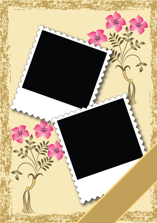 Page layout photo album with ornament  Illustration