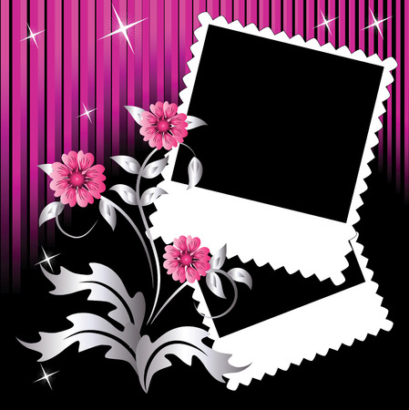 Page layout photo album with flowers Stock Illustratie