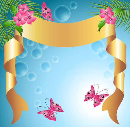 text sample: Floral background for an insert of the text or a photo.  Illustration