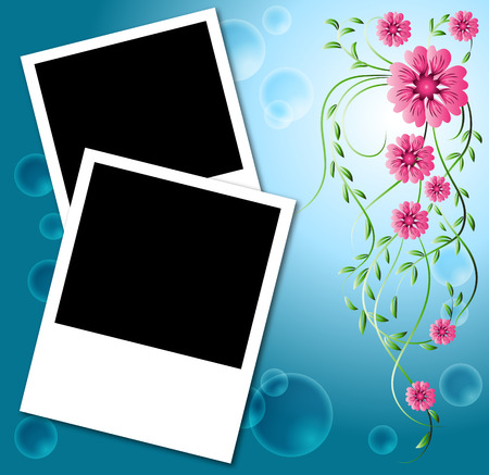 Page layout photo album with flowers Vector