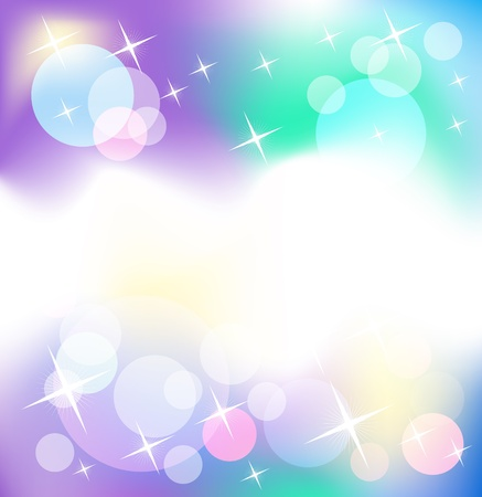 vibrant colors: Glowing background with stars and transparent rounds