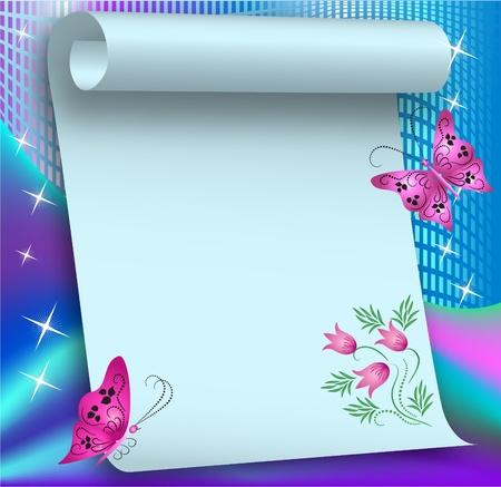 Fondo mágico con mariposas y un lugar para el texto o la foto
