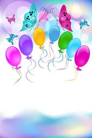 butterfly bow: Festive background with balloons and butterfly