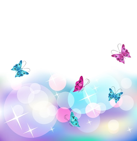 Glowing background with butterfly, stars and transparent rounds Vector