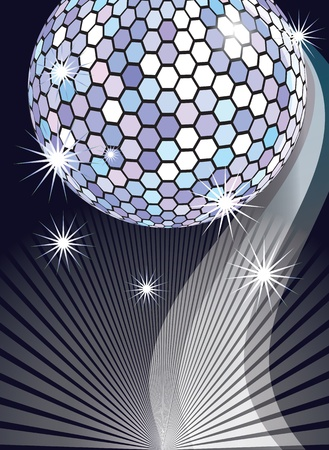 Celebratory background with diskoball and beams Vector