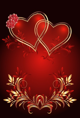 flaming heart: Card with decorative hearts