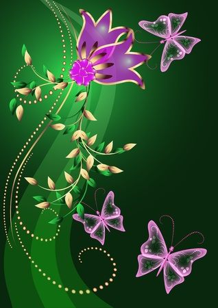 Glowing background with flowers, butterfly and stars Stock Vector - 8776826