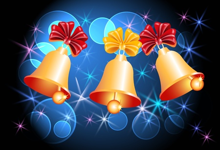 Christmas background with bells and glowing stars Vector
