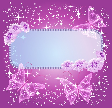 Background for text or photo with flowers and butterfly Vector