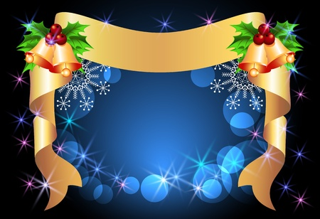 Christmas background with golden ribbon and bells