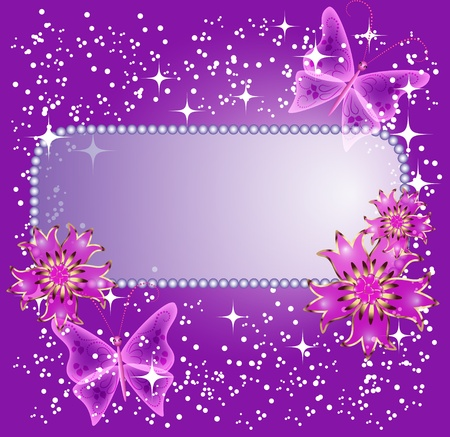 transparent brush: Background for text or photo with flowers and butterfly Illustration