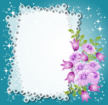 Magic floral background with stars and a place for text or photo. Vector