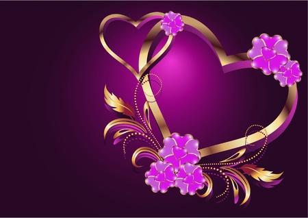matrimonio feliz: Tarjeta con corazones decorativos Vectores