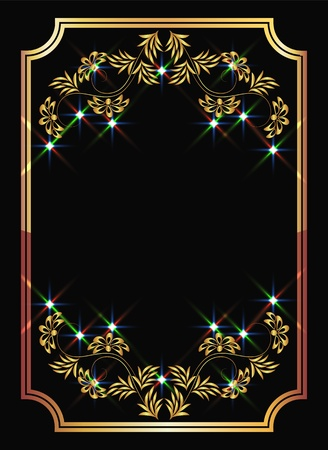 Background with golden ornament and sparkling lights Stock Vector - 8776782