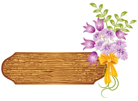 Abstract background with wooden texture and flowers Stock Vector - 8776721