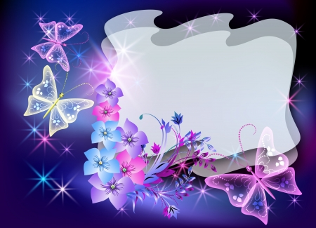 Glowing transparent flowers, stars and butterfly photo