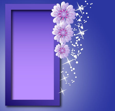 attach: Frame with flowers for a photo or  text Illustration