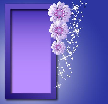 adjuntar: Marco con flores para una foto o el texto Vectores