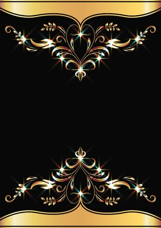 title: Background with golden ornament and sparkling lights