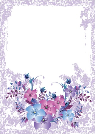 scratch card: Grunge card with meadow flowers Illustration