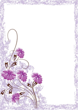 scratch card: Grunge card with meadow flower.  Illustration