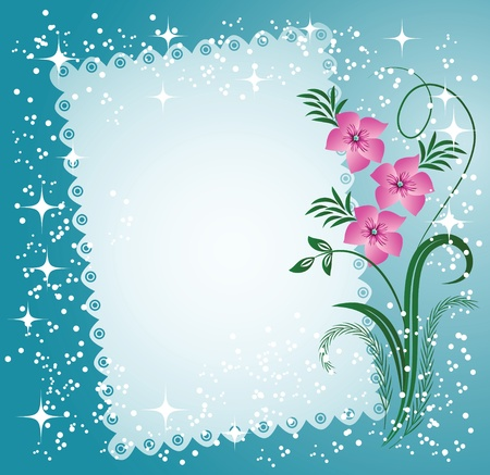 Napkin with lacy edges with flowers, stars and a place for text or photo Stock Vector - 8776540