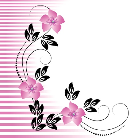 text sample: Flowers ornament with striped