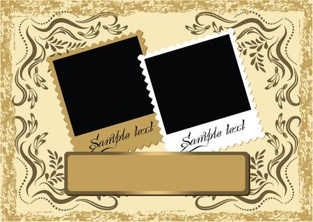 grunge photo frame: Album di foto di layout di pagina con ornamento Vettoriali