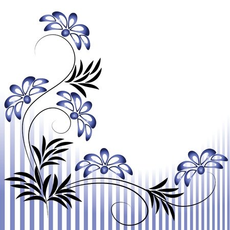 flower drawings: Flowers ornament with striped