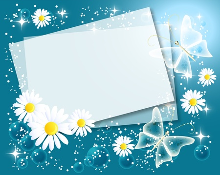 Magic floral background with chamomiles, butterfly, stars and a place for text or photo Vector