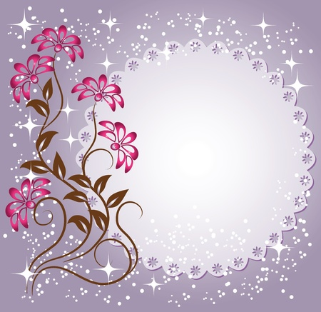 Napkin with lacy edges with flowers, stars and a place for text or photo Vector