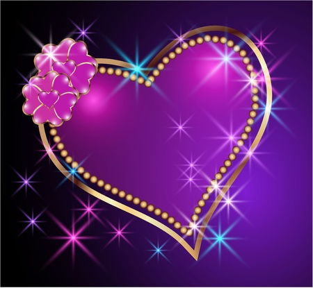love symbol: Card with decorative hearts and stars