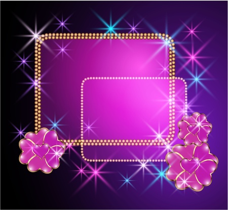 Glowing background with billboard, transparent flowers and stars Vector