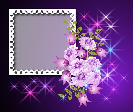 Page layout photo album with flowers and stars