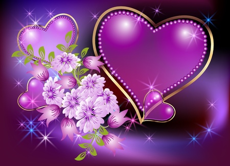Card with decorative hearts, flowers and stars Vector