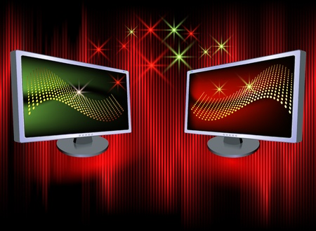 Monitors on a luminous  background Vector